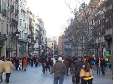 Shoppers crowd Barcelona's beautiful pedestrian-friendly streets.